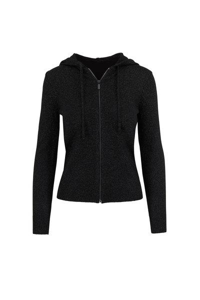 Michael Kors Collection - Black Metallic Front Zip Hoodie