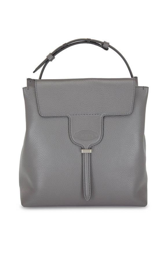 Tod's Joy Dark Gray Pebbled Leather Small Hobo Bag