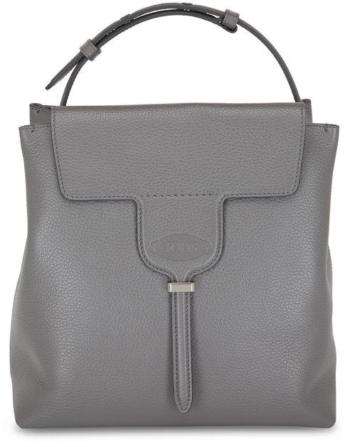 Tod's Joy Dark Gray Pebbled Leather Small Hobo Bag