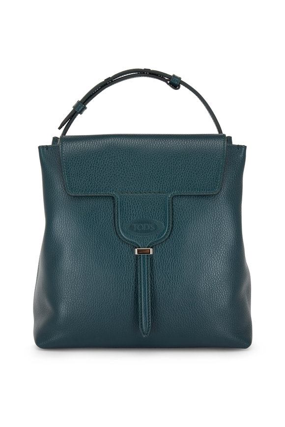 Tod's Joy Dark Green Pebbled Leather Small Hobo Bag