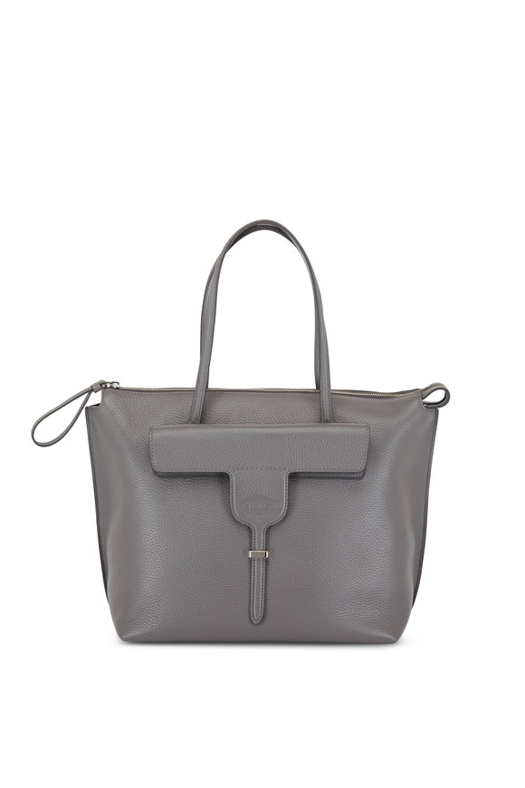 Tod's New Joy Dark Gray Front Flap Medium Tote
