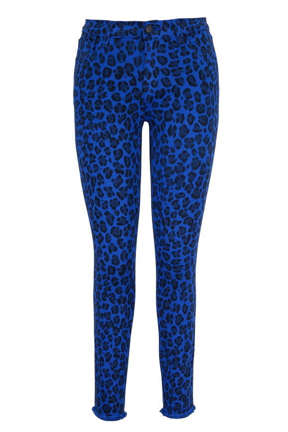 J Brand 835 Royal Jaguar Print Mid-Rise Crop Skinny Jean