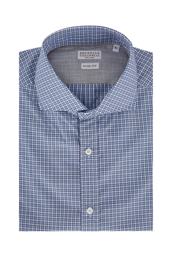 Brunello Cucinelli Blue & Brown Check Slim Fit Sport Shirt