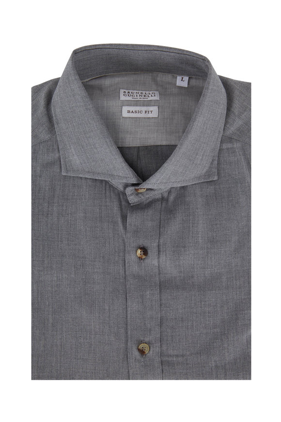 Brunello Cucinelli Gray Basic Fit Sport Shirt