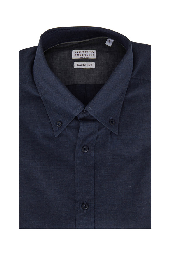 Brunello Cucinelli Navy Basic Fit Sport Shirt