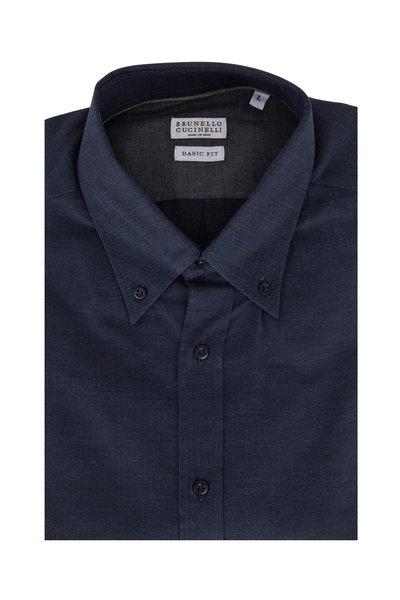 Brunello Cucinelli - Navy Basic Fit Sport Shirt