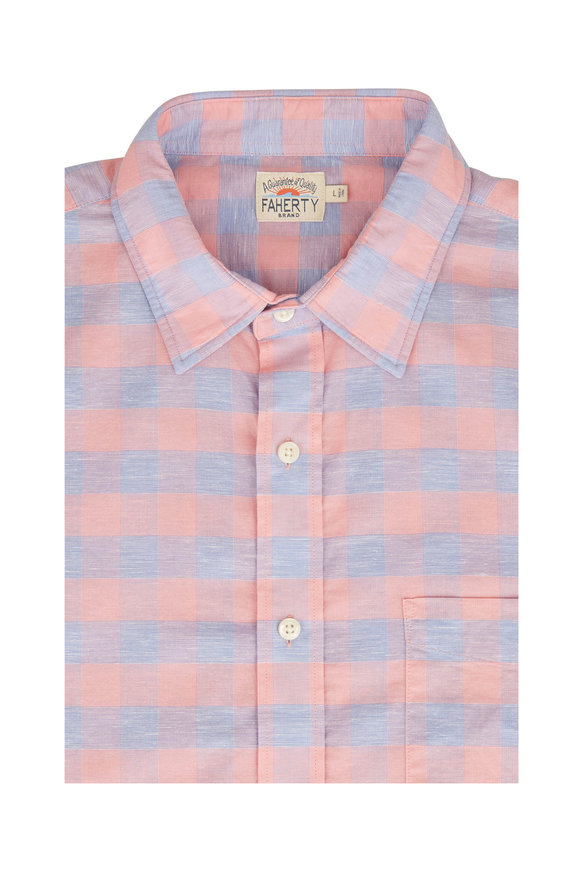 Faherty Brand Rose Buffalo Check Short Sleeve Sport Shirt