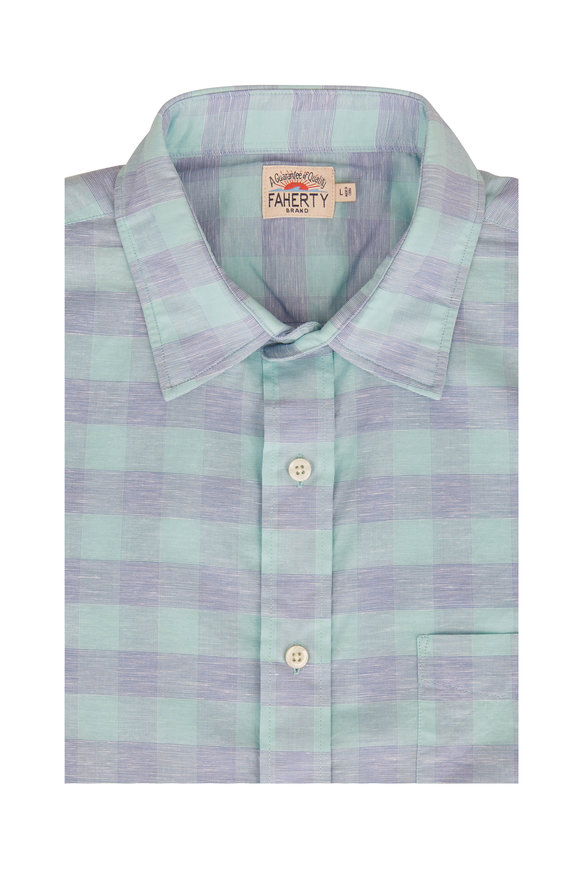 Faherty Brand Blue Buffalo Check Short Sleeve Sport Shirt