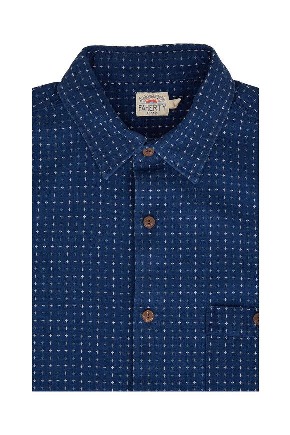 Faherty Brand Block Island Jacquard Short Sleeve Sport Shirt