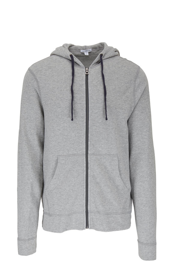 James Perse Gray Terry Front Zip Hoodie