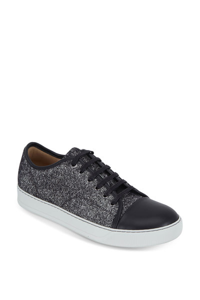 Lanvin - Black Flocked Leather Cap-Toe Sneaker
