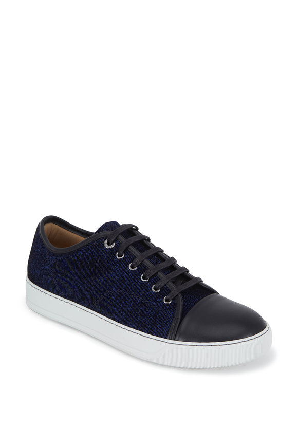 Lanvin Royal Blue Flocked Leather Cap-Toe Sneaker