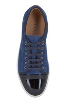 Lanvin - Blue Suede & Black Patent Leather Cap-Toe Sneaker
