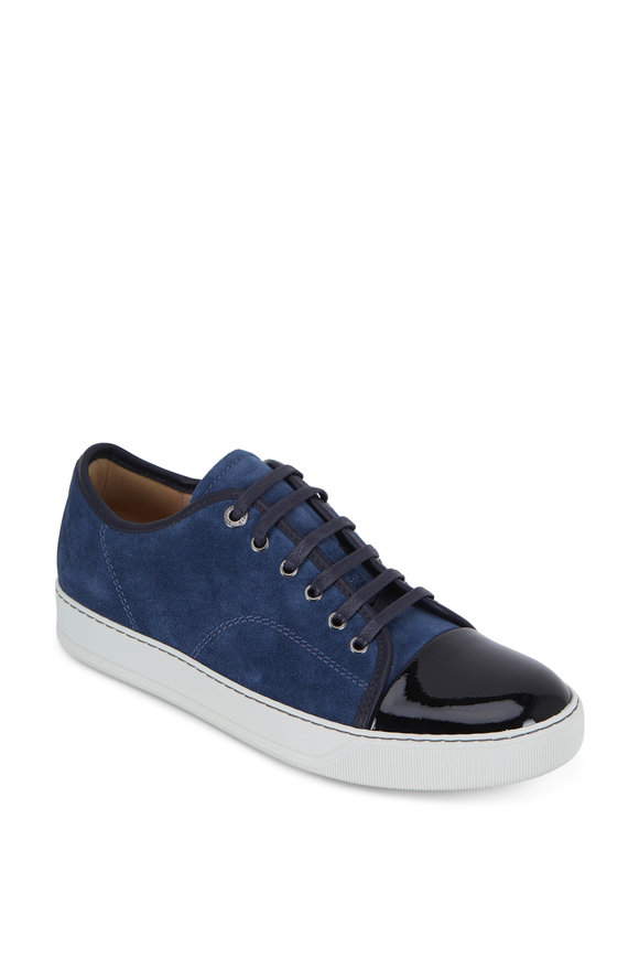 Lanvin Blue Suede & Black Patent Leather Cap-Toe Sneaker