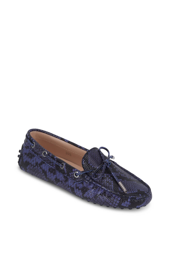 Tod's Laccetto Blue Python Embossed Leather Driver