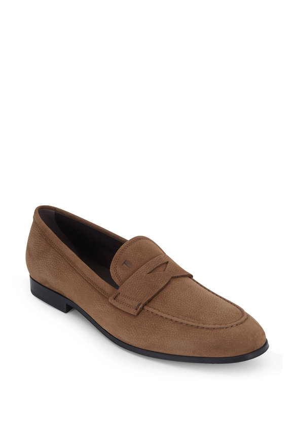 Tod's Light Tan Pebbled Suede Penny Loafer