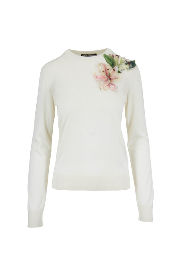 Dolce & Gabbana Ivory Flower Appliqué Knit Sweater