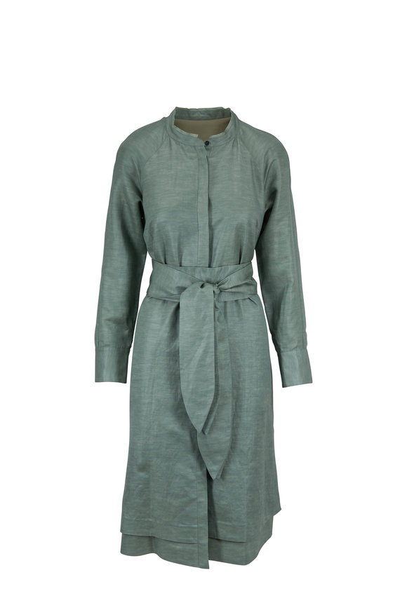 Partow Forest & Mint Long Sleeve Belted Dress