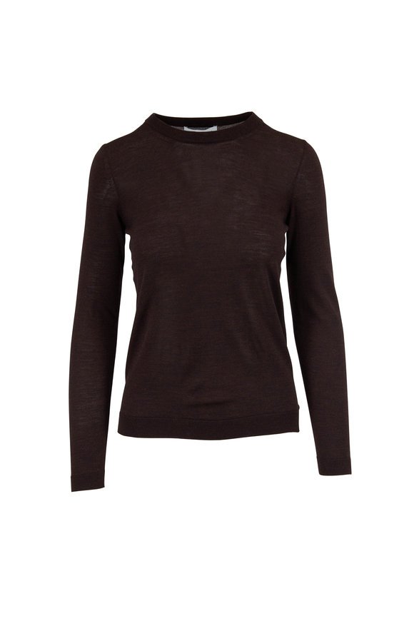 Partow Cocoa Melange Wool Crop Crewneck Sweater