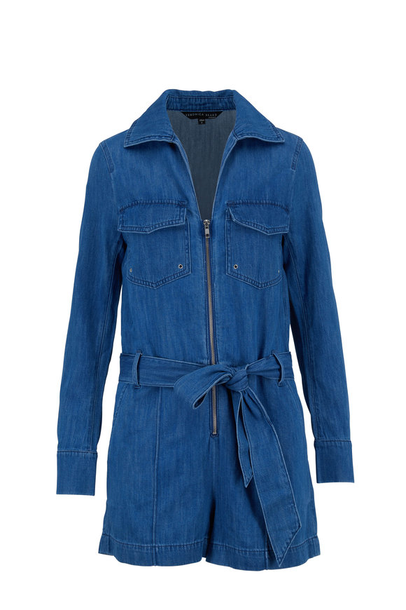 Veronica Beard Keenan Medium Blue Zip Front Romper