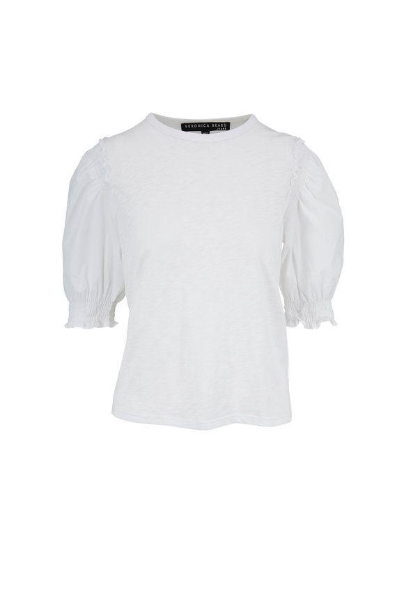 Veronica Beard Cloud White Pouf Sleeve Tee
