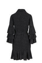 Michael Kors Collection - Black & Ivory Dots Silk Tiered Sleeve Shirtdress