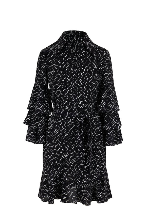 Michael Kors Collection Black & Ivory Dots Silk Tiered Sleeve Shirtdress