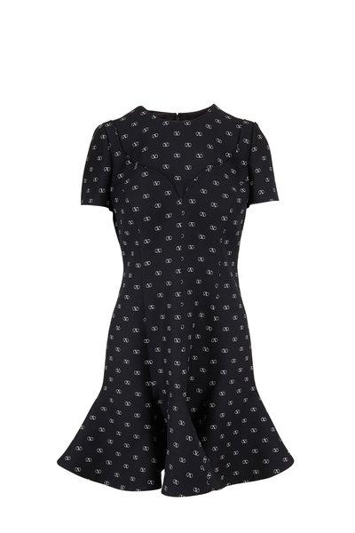 Valentino - Crepe Couture Black & Ivory Logo Godet Dress