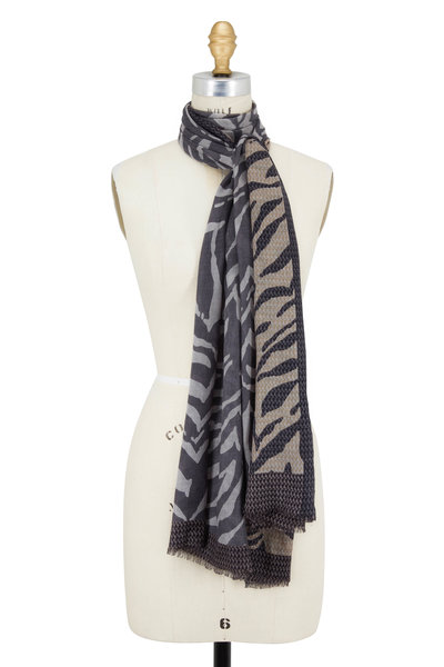 Kinross - Suede Multi Zebra Print Cashmere & Silk Scarf