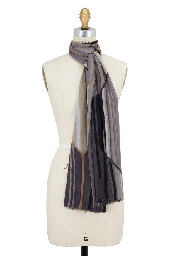 Kinross Pewter Multi Prism Print Cashmere & Silk Scarf