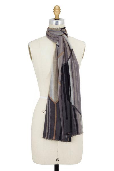 Kinross - Pewter Multi Prism Print Cashmere & Silk Scarf
