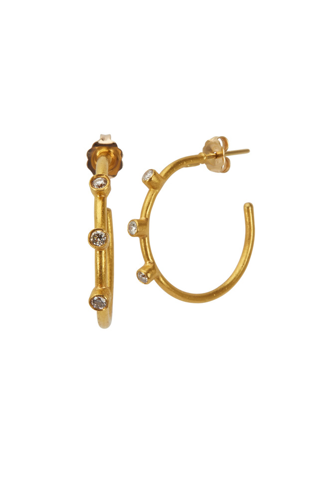 Jane Yellow Gold White Diamond Hoop Earrings