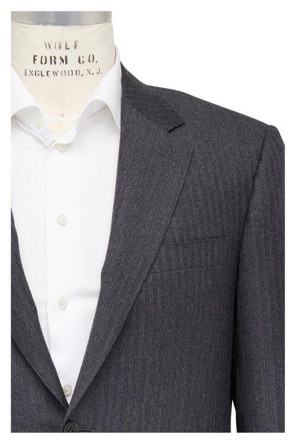Canali Charcoal Herringbone Striped Wool Suit