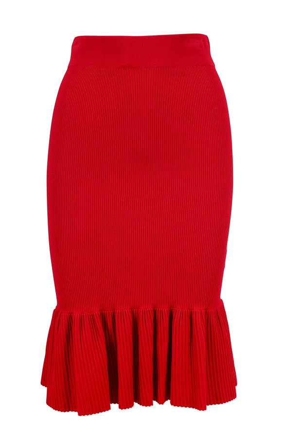 Akris Punto Cranberry Ribbed Knit Ruffle Hem Skirt
