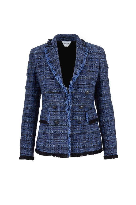Akris Punto Navy Blue Tweed Denim Double-Breasted Jacket