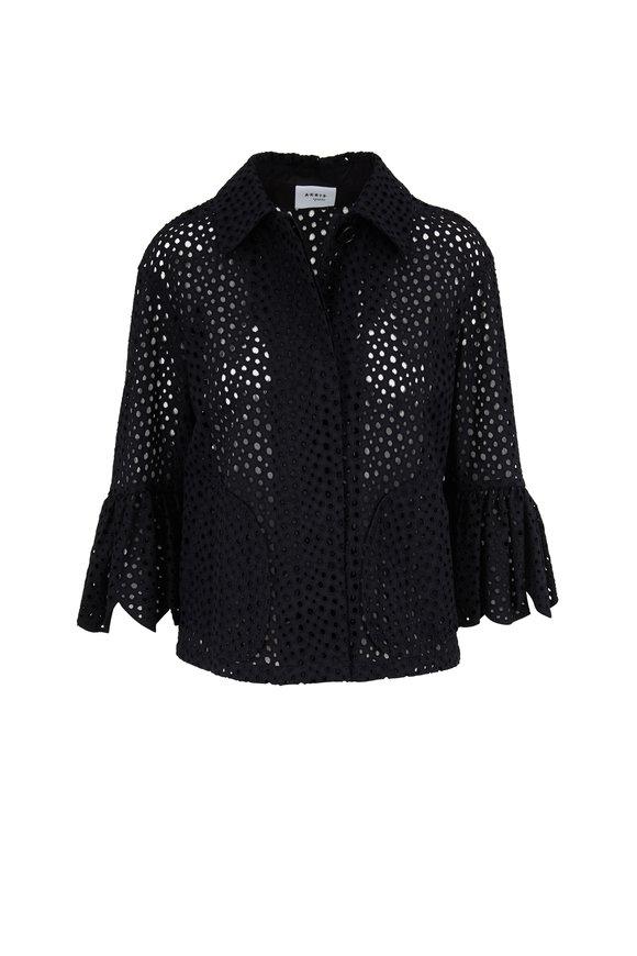 Akris Punto Black Eyelet Lace Three-Quarter Sleeve Jacket