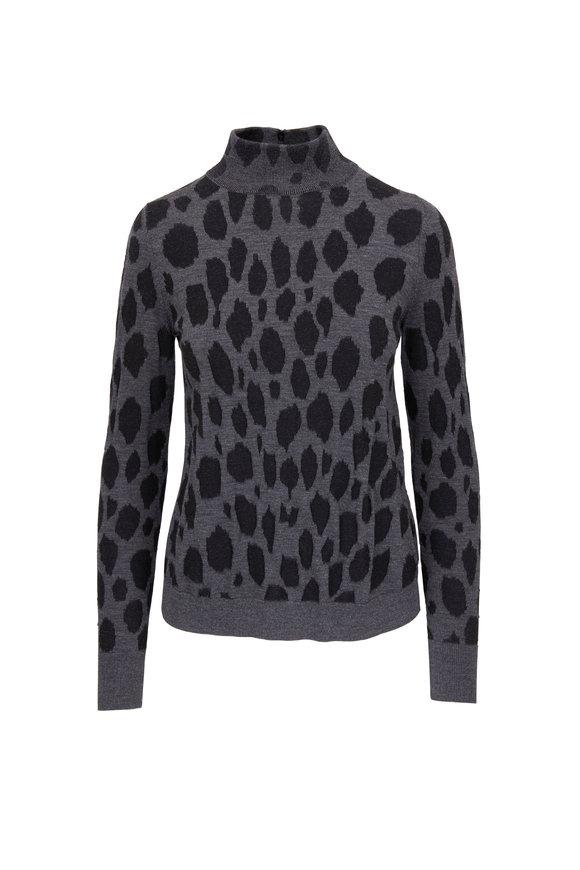 Akris Punto Graphite & Black Wool Animal Dot Mockneck Sweater