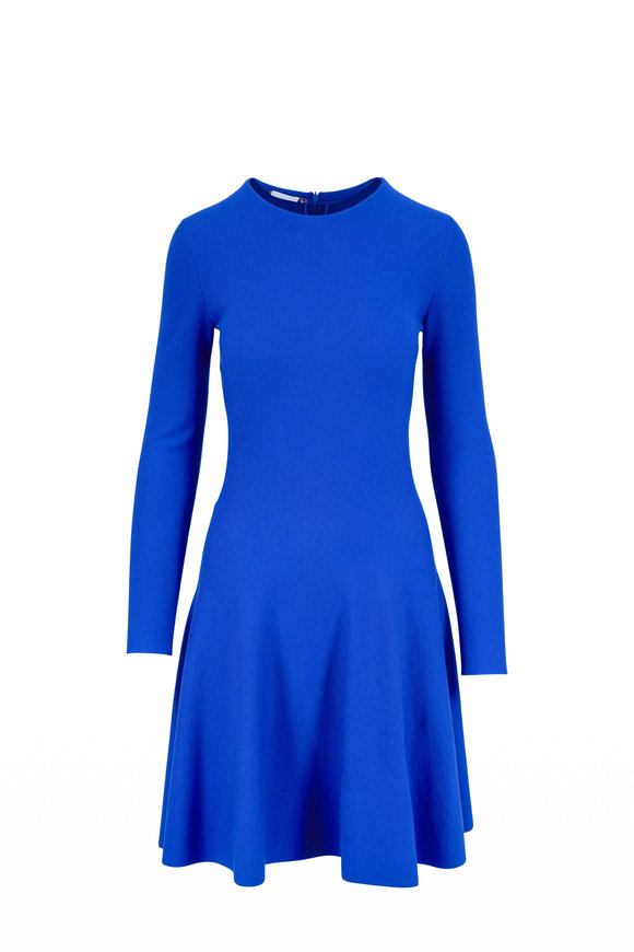 Akris Punto Electric Blue Wool Long Sleeve Knit Dress