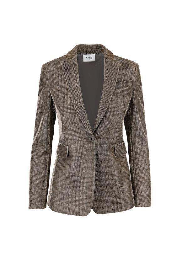 Akris Punto Camel & Silver Glen Check Single Button Jacket