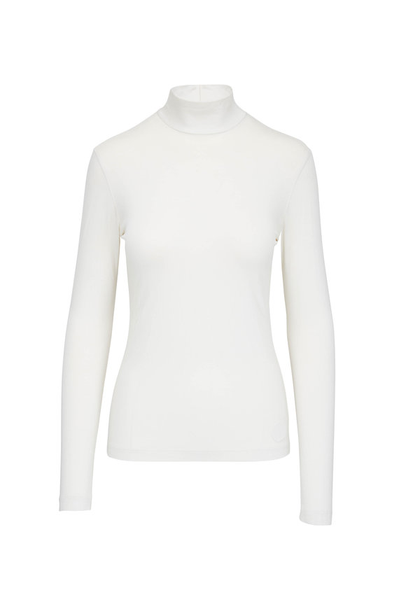 Akris Punto Off White Back Zip Turtleneck