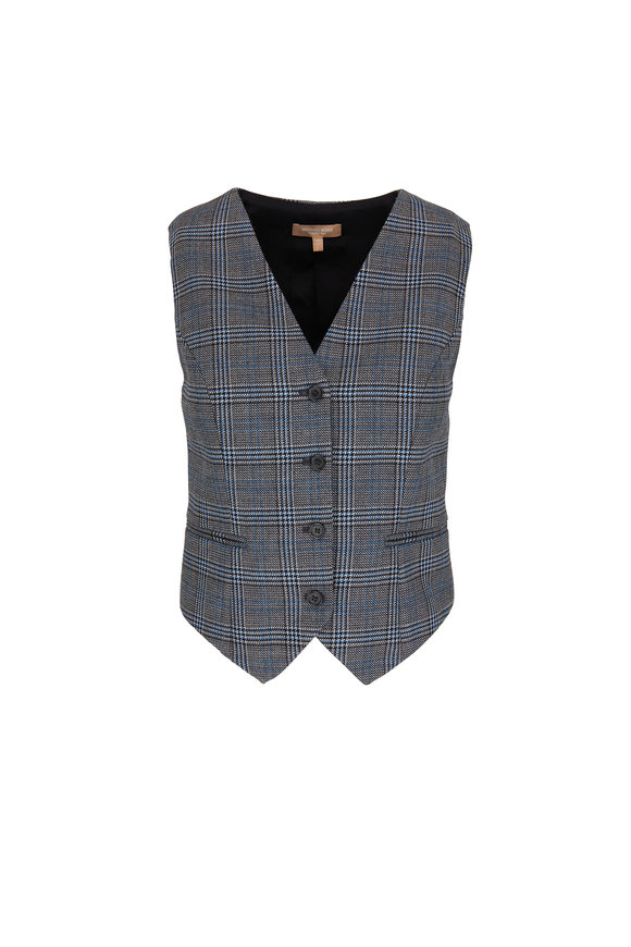 Michael Kors Collection Cornflower Glen Plaid Four Button Vest