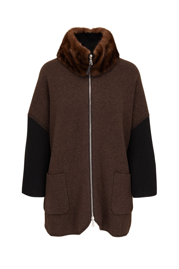 Rani Arabella Black & Brown Cashmere Reversible Zip Cardigan