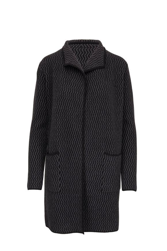 Kinross Black & Charcoal Cashmere Reversible Cardigan