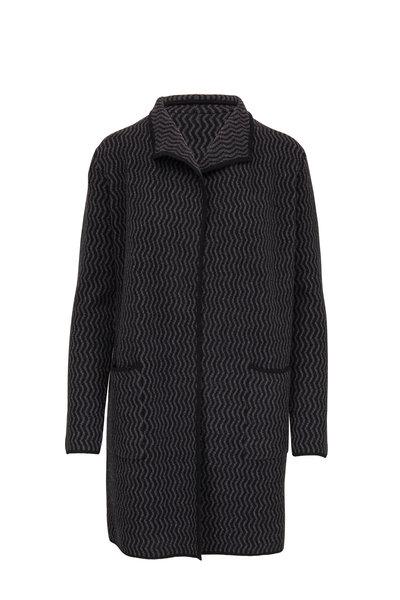 Kinross - Black & Charcoal Cashmere Reversible Cardigan