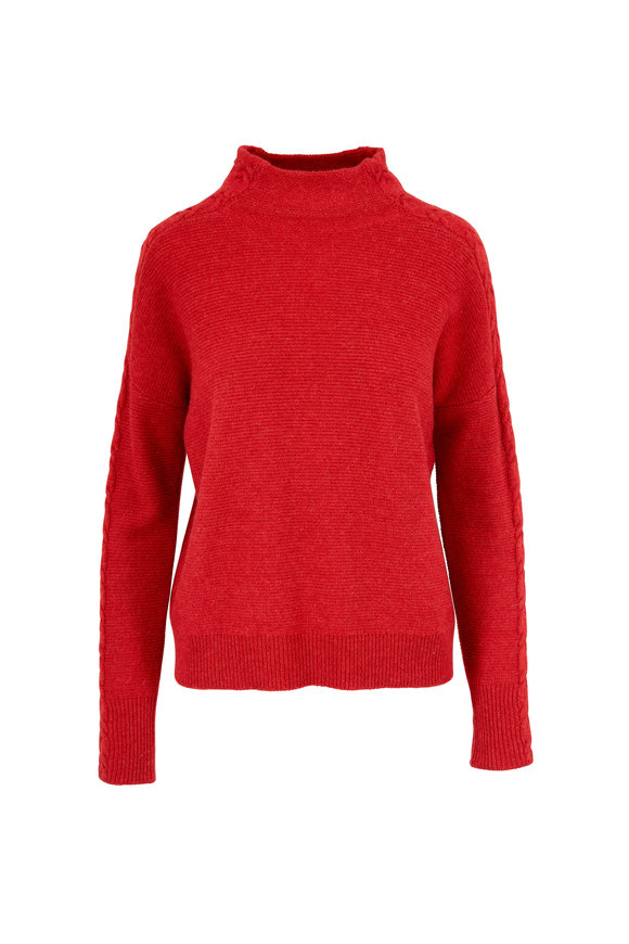 Kinross Saffron Cashmere Mixed Rib Sweater