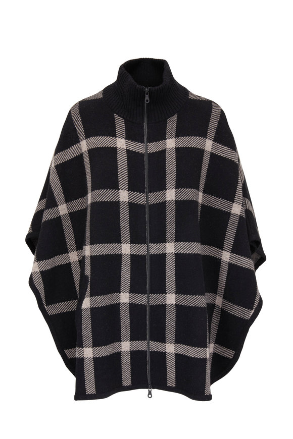 Kinross Black & Suede Brown Cashmere Plaid Poncho