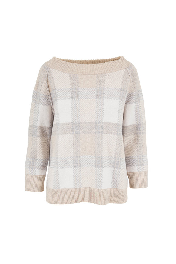 Kinross Fawn Plaid Cashmere Reversible Sweater