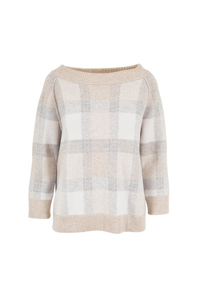 Kinross - Fawn Plaid Cashmere Reversible Sweater