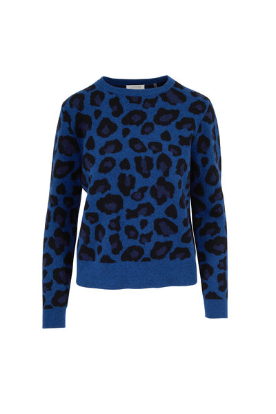 Kinross - Winter Teal Cashmere Leopard Reversible Sweater