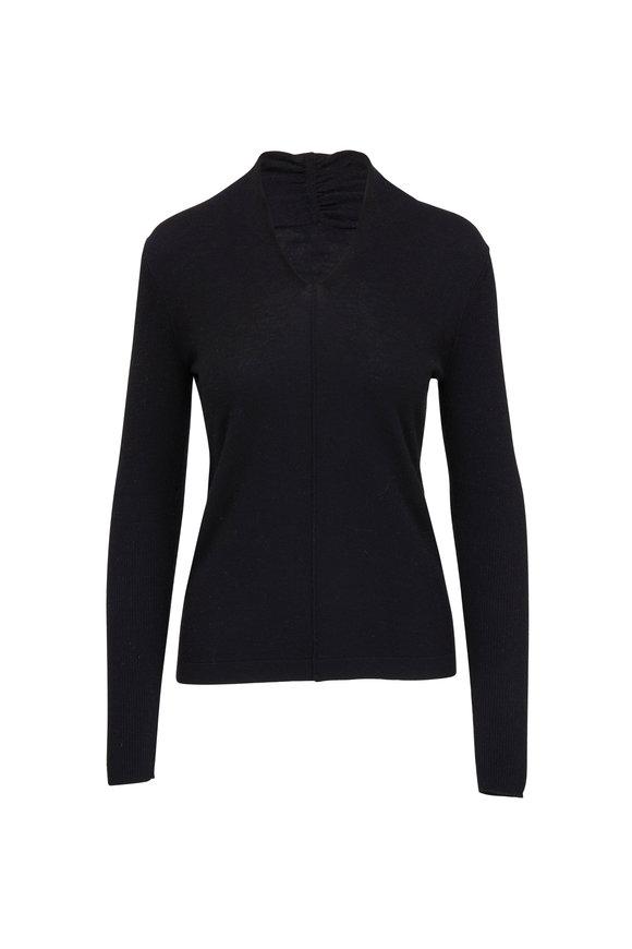 Kinross Black Worsted Cashmere Gathered V-Neck Sweater